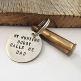 Hunting Gift For Dad Christmas for Hunting Husband Gun Bullet Keychain Bullet Keyring Personalized Gift from Son to Grandpa Key Chain Round