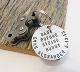 Christmas Gift for Biker Keychain for Biking Dad Key Chain Personalized Motocross Key Chain Father Gift for Dad Son Dirtbike Keyring Men Him