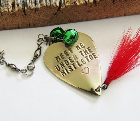 Red Green Ornament Fishing Ornament Meet Me Under The Mistletoe Hostess Gift Idea Fishing Lure Chistmas Ornament Festive Holiday Decoration