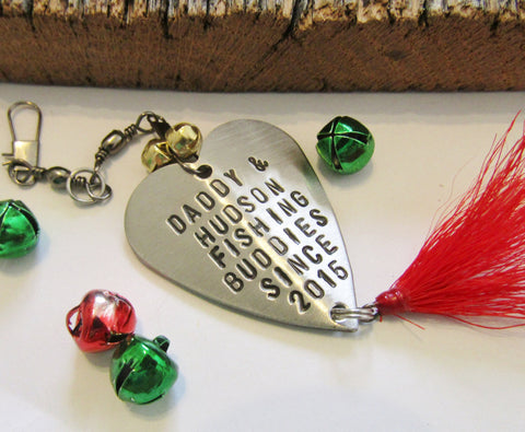 Daddy Gift Christmas Gift for Dad from Son to Father Personalized Stocking Stuffer Him World's Greatest Dad Fishing Lure Ornament with Bells