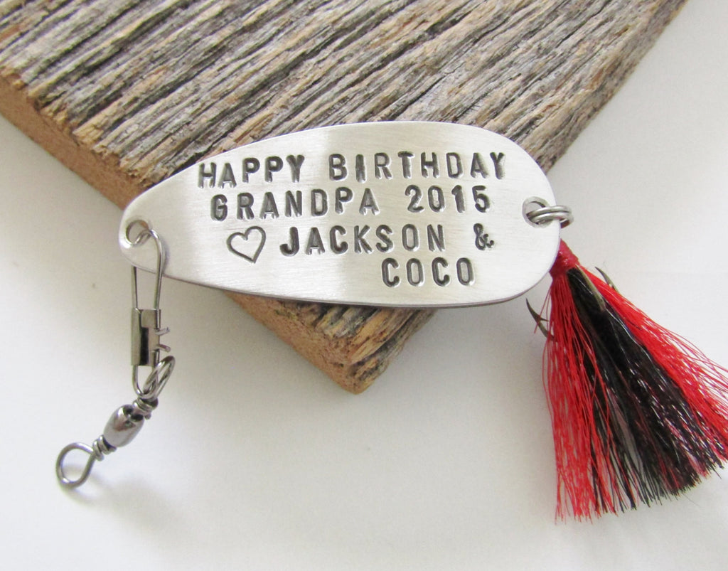 Grandfather Gift for Grandpa Birthday Gift from Grandchildren to Grandpa Fishing Lure Gift for Papa Personalized Birthday Gift Pop Father