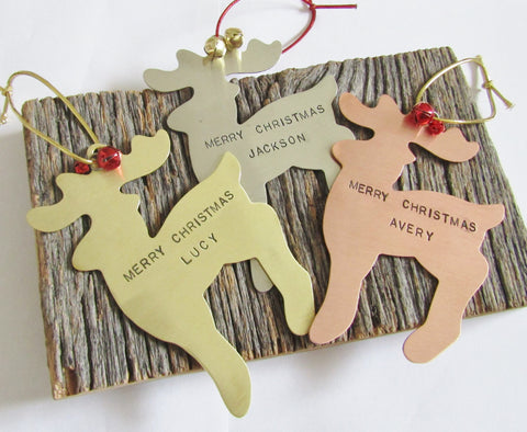 Christmas Ornament Daughter Personalized Ornament Son Christmas Decoration Home Holiday Decoration Reindeer Ornament Copper Ornament Girl