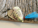 Anniversary Spoon Lure Spooning Since 1989 Fishing Hooks Hand Stamped Gift for Fishermen Gifts for Women Christmas Gift Idea Outdoor for Her