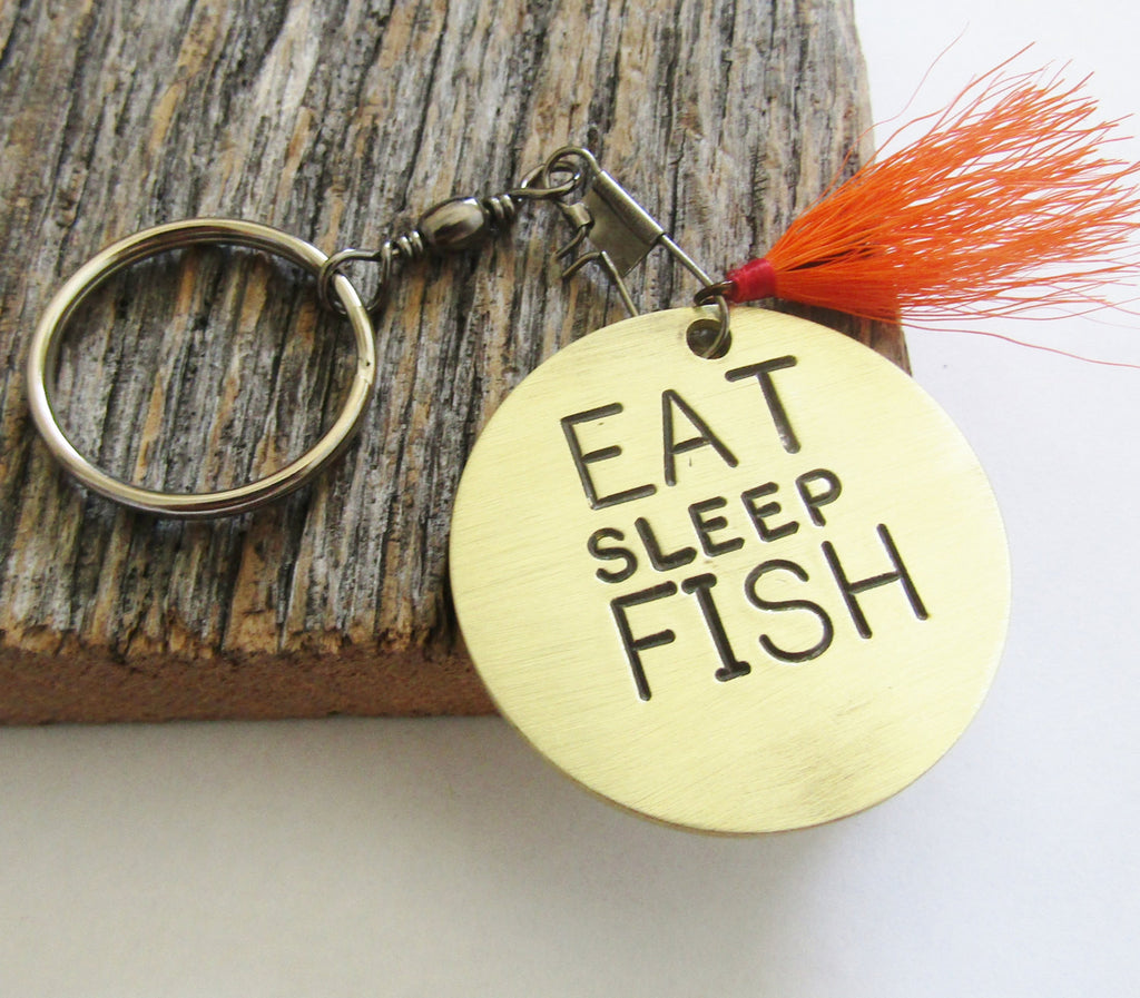Eat Sleep Fish Keychain for Grandpa Custom Keychain for Him Fisherman Keychain Fly Fishing Keyring Fishing Quotes Christmas Gift for Him Dad