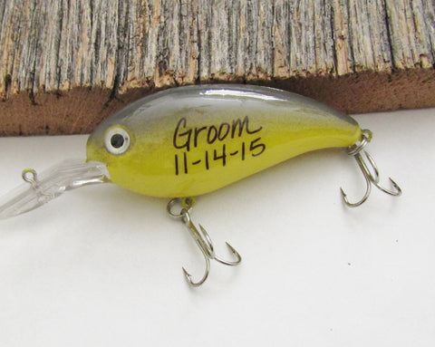 Fishing gifts from the Groom Custom fishing wedding themed bass lures Personalized Fishing Lures for a Best Man or Groomsmen Proposal