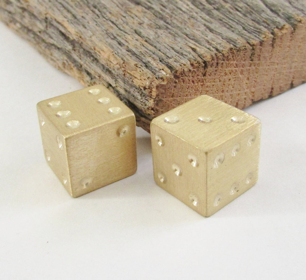 Handcrafted Metal Dice Oversized Brass Die Game Room Decoration Man Cave Lucky 7 Gambling Dice Mid Century Interior Design Decor Den Office
