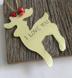 Personalized Christmas Ornament Hand Stamped I Love You Ornament Adoption Ornament Love Christmas Ornament Couples Ornament Wedding Ornament