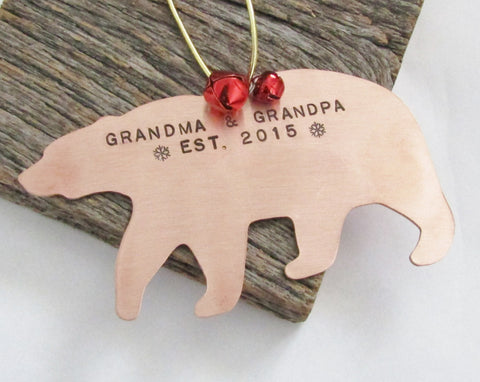 Personalized Christmas Ornament New Grandparents Christmas Ornament for Grandpa Bear Ornament for Grandma and Grandpa Established 2015 Gift