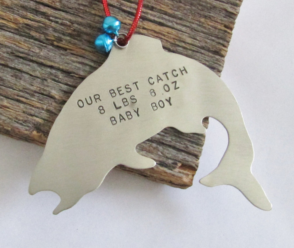 Personalized Christmas Ornament Fishing Ornament New Baby Ornament Baby's 1st Christmas Ornament Baby Weight Baby Stats Baby Name Ornaments