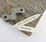 Christmas Gift for Bike Rider Husband Gift Idea Cycling Gift for Cyclist I'd Rather Be Riding Metal Collar Stay Gift for Boy Mountain Biking