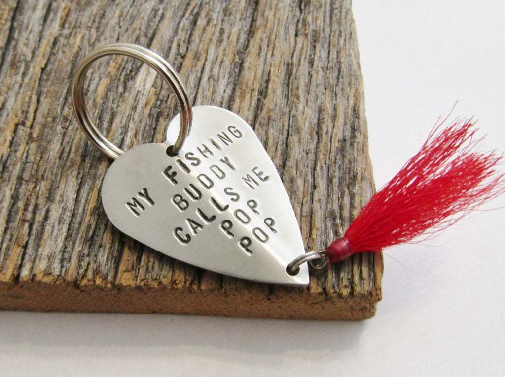 Keychain for Grandpa Christmas Gift for New Grandpa My Fishing Buddy Calls me Pop Pop Fishing Lure Keychain Grandfather Gift Father's Day