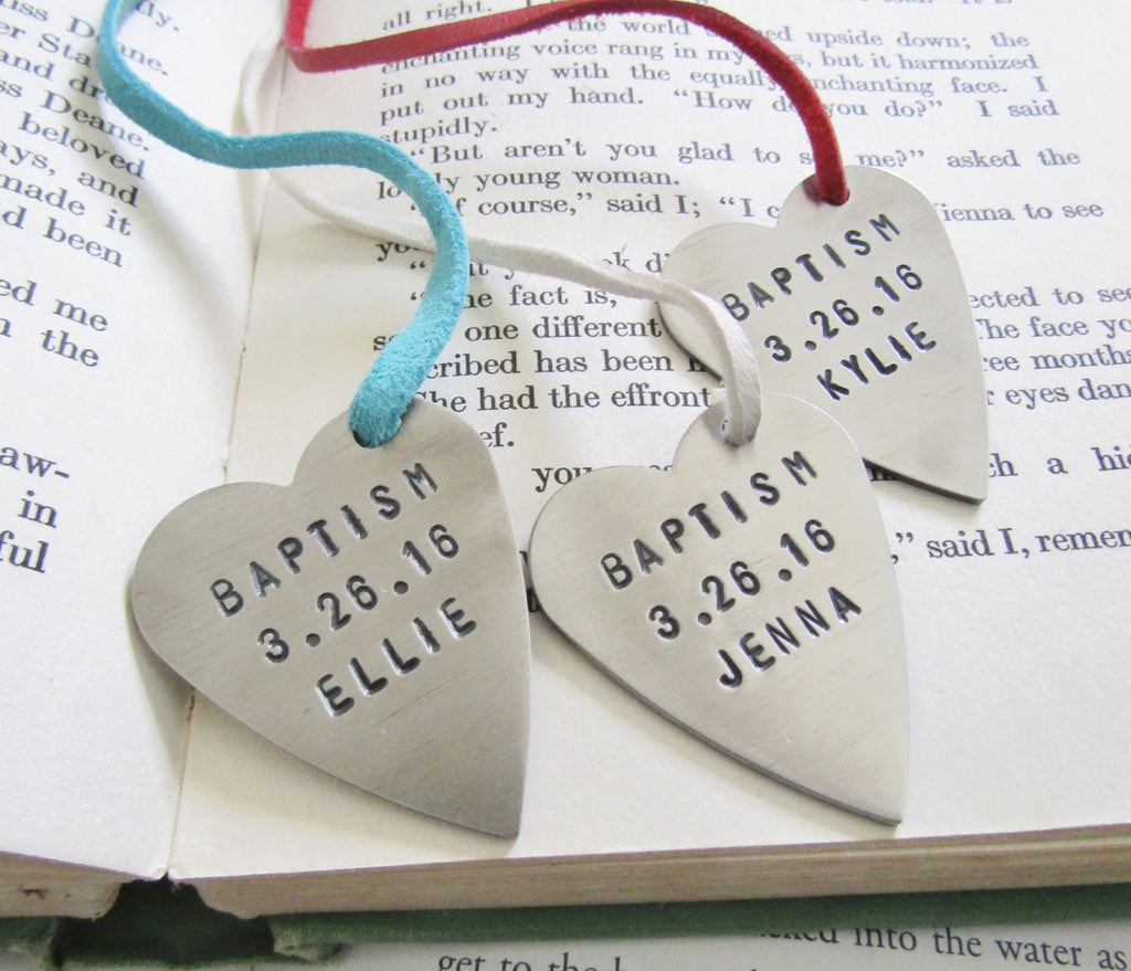 Personalized Heart Bookmark - Custom Baptism Gift for Girls