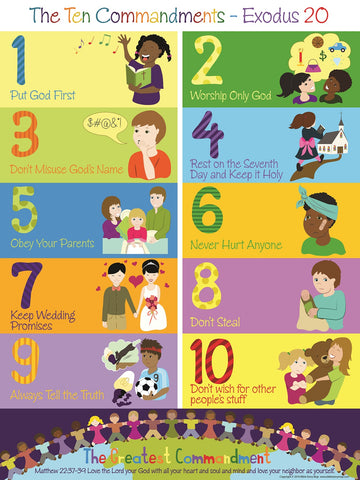 "Ten Commandments Poster for Kids 17"" x 22"""