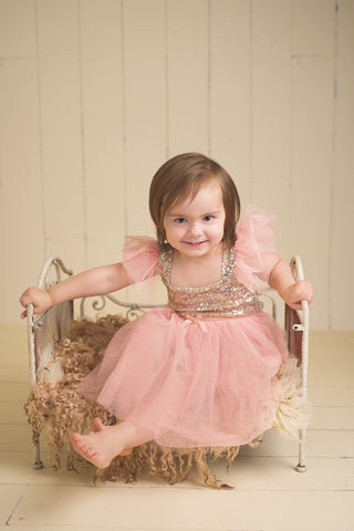 Alaya - Pink & Gold Sequin Tulle Dress