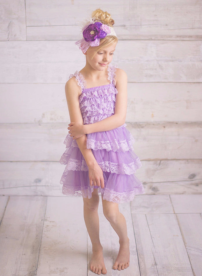 Vintage Layered Lace Dress - Lavender