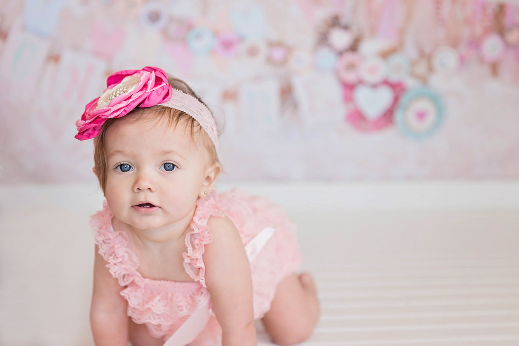 Lace Romper & Headband Set - Light Pink