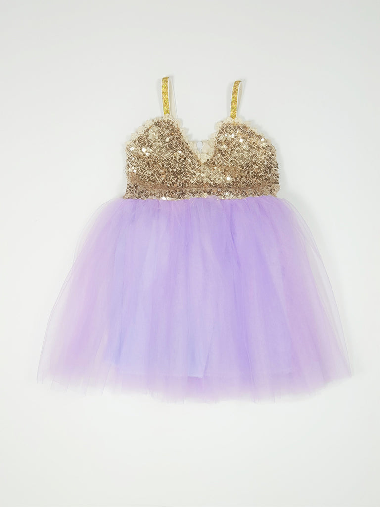Serenity - Gold Sequin Tulle Dress, Lavender