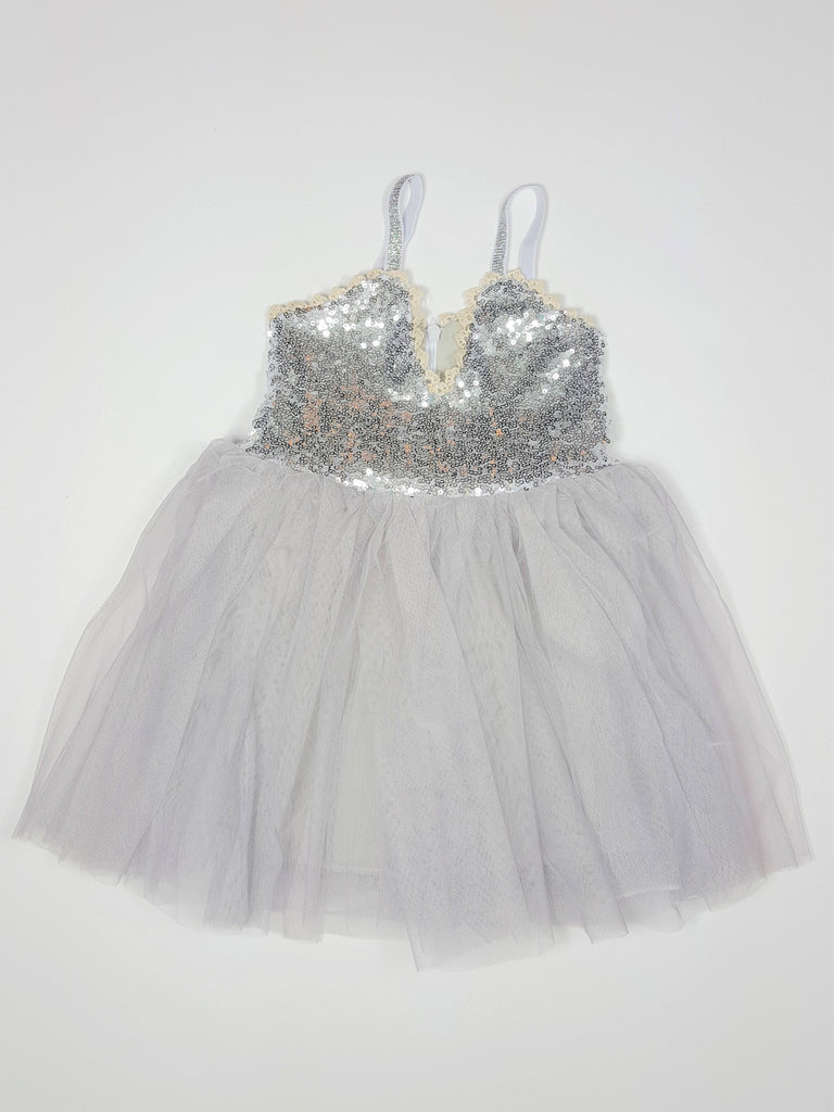 Serenity - Gold Sequin Tulle Dress, Gray