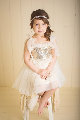 Grace - Gold and Ivory Sequin Tulle Dress