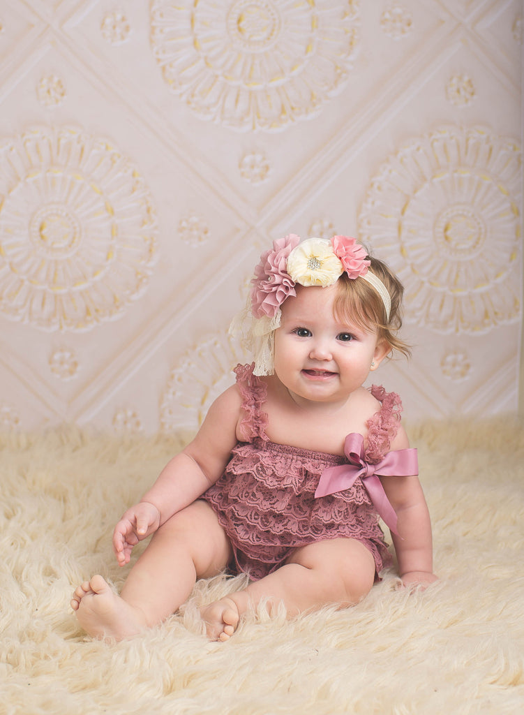 Lace Romper & Headband Set - Dusty Pink