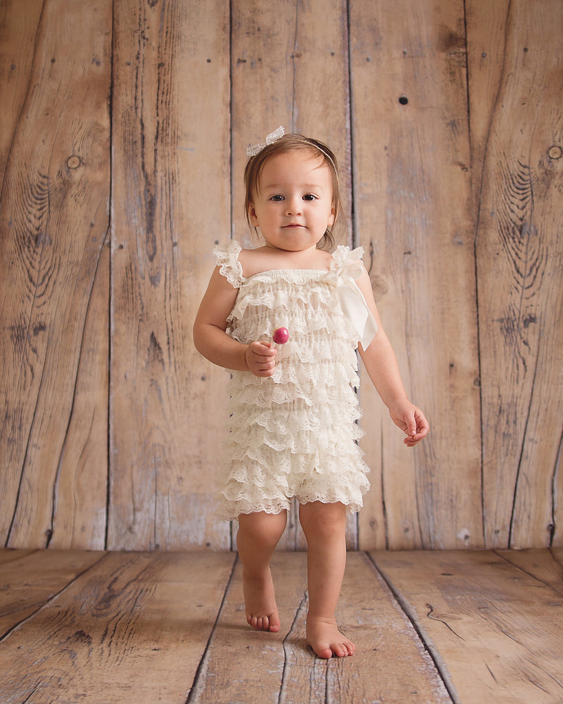 Lace Ruffle Romper - Ivory