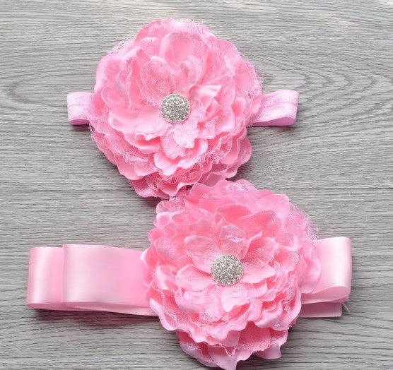 Pink Flower Headband Set