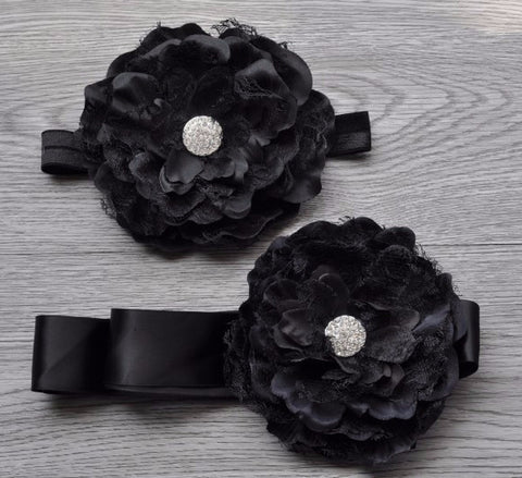 Black Flower Headband Set
