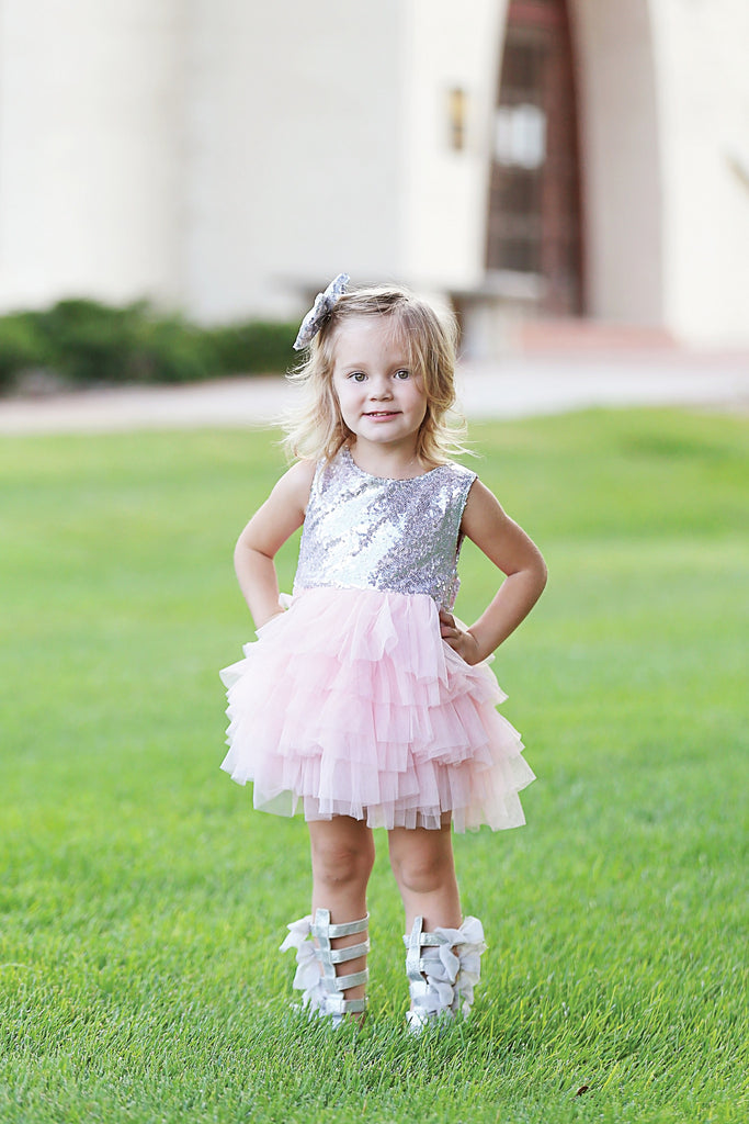 Gia - Pink Sequin Tulle Dress