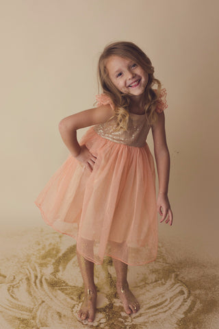 Amy - Peach Sequin Tulle Dress