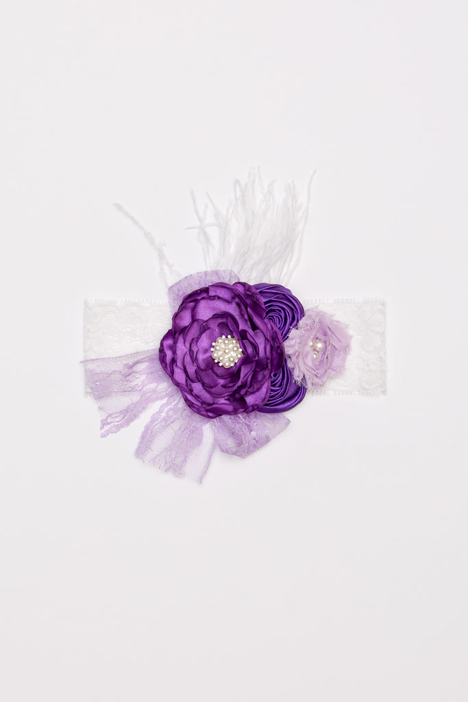 Lux Flower Lace Headband - Purple