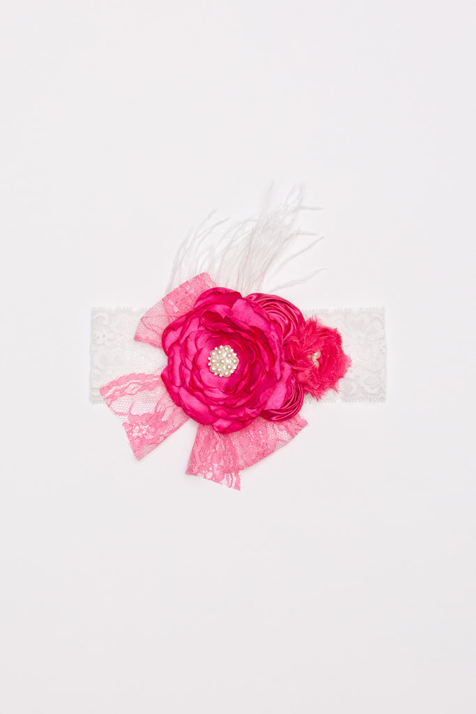 Lux Flower Lace Headband - Hot Pink