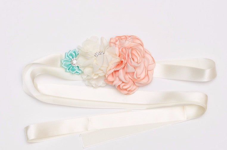 Ivory, Mint and Coral Maternity Sash, Maternity Photography Prop