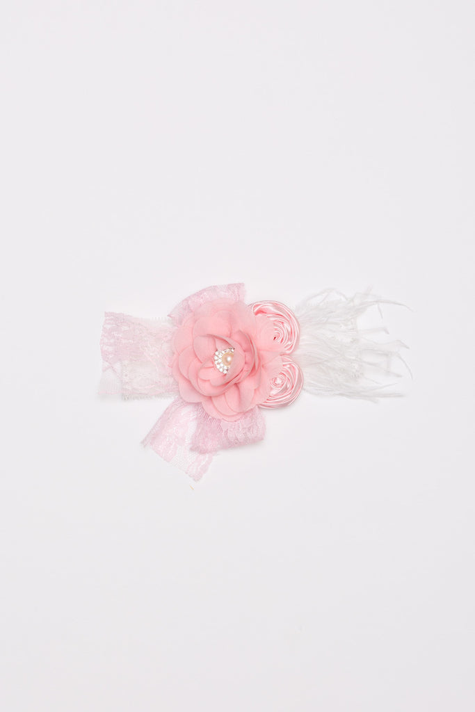 Pastel Flower Lace Headband - Cream