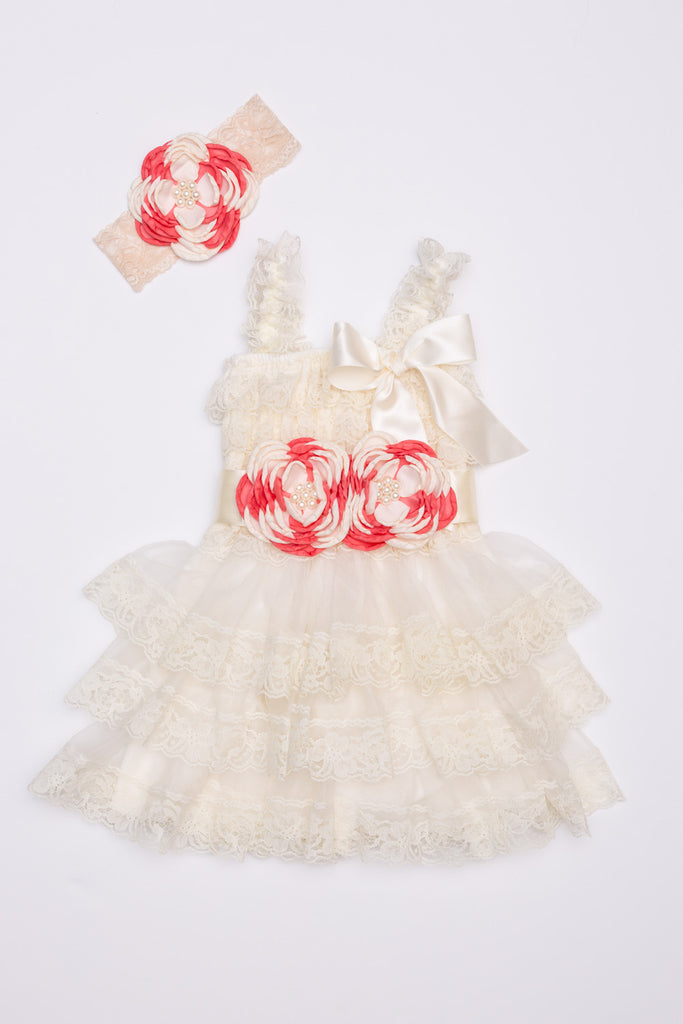 Lace Dress, Headband & Sash Set - Ivory & Coral