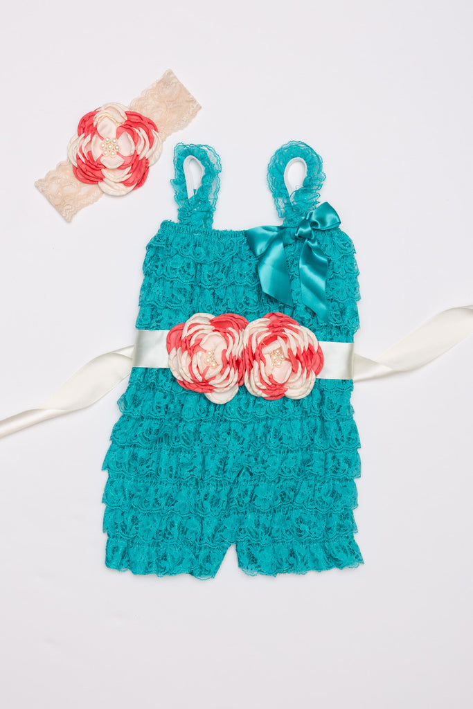 Teal Lace Romper Outift