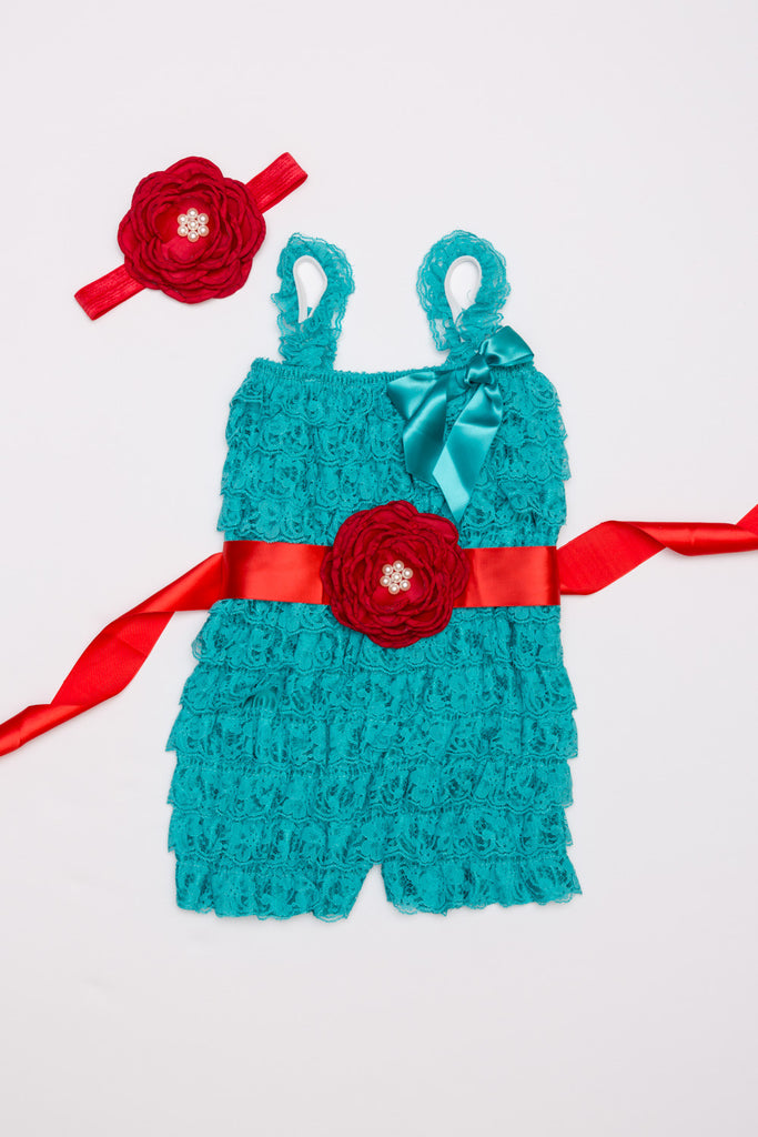Teal and Red Lace Romper Outift