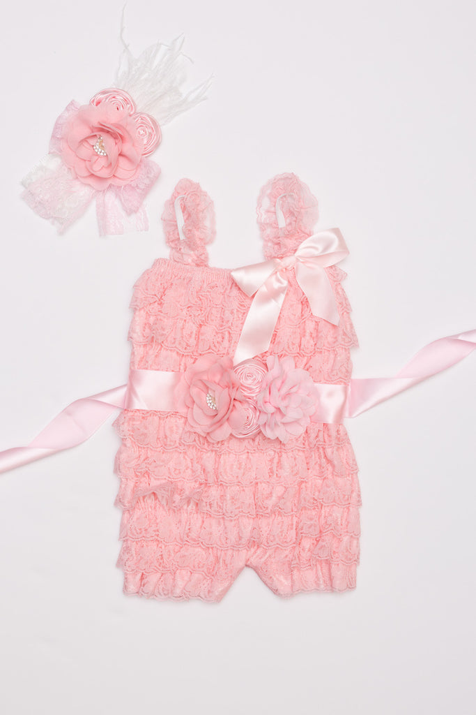 Pink Lace Romper, Headband & Sash Outift