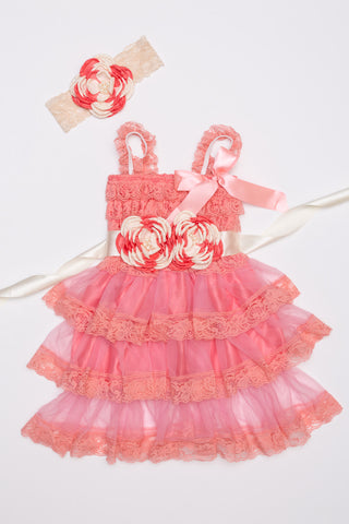 Coral Lace Dress, Headband & Sash Set