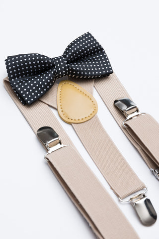 Black Polka Dot Bow Tie & Nude Suspender Set