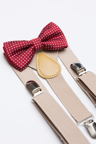 Burgundy Polka Dot Bow Tie & Nude Suspender Set