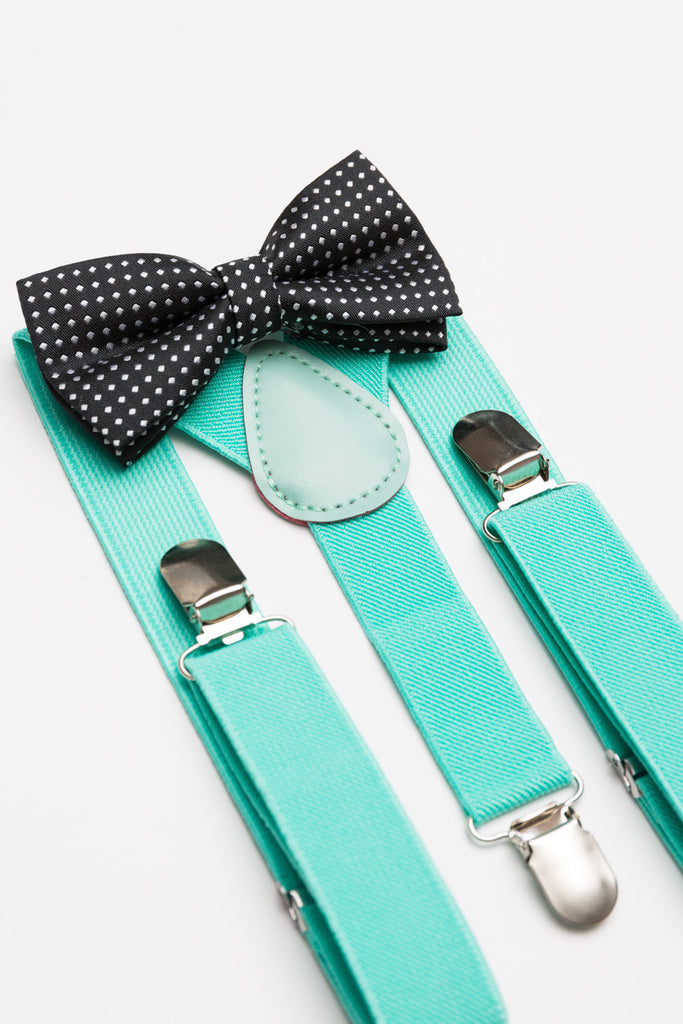 Black Polka Dot Bow Tie & Mint Suspender Set