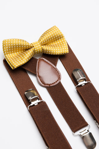 Mustard Polka Dot Bow Tie & Brown Suspender Set