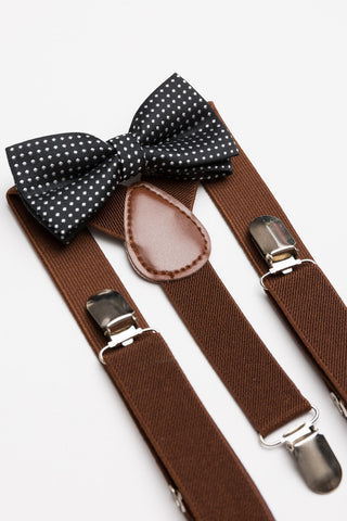 Black Polka Dot Bow Tie & Brown Suspender Set