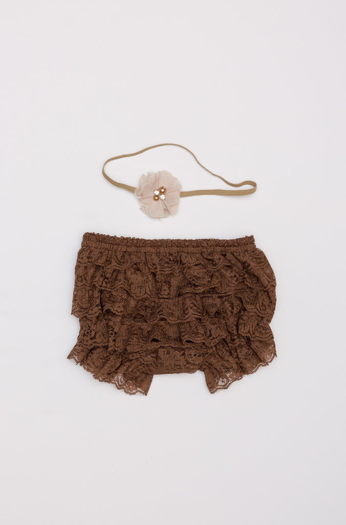 Lace Diaper Cover & Headband Set - Brown