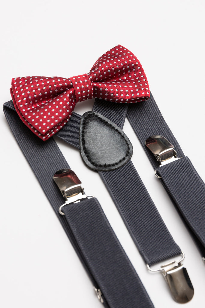 Cherry Polka Dot Bow Tie & Dark Grey Suspender Set - Baby, Toddler & Boys