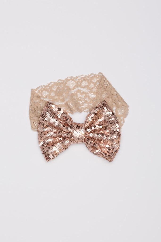 Tan Sequin Bow Headband