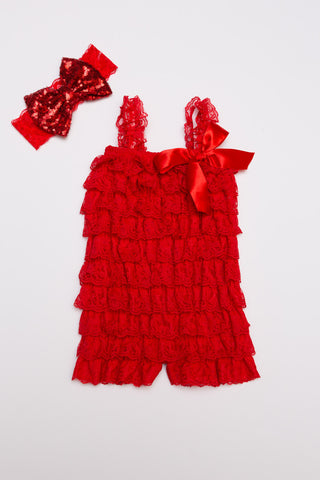 Lace Ruffle Romper - Red