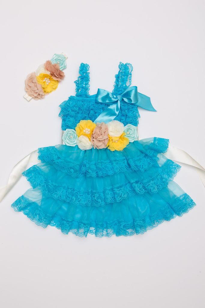 Aqua Lace Dress, Headband & Sash Set
