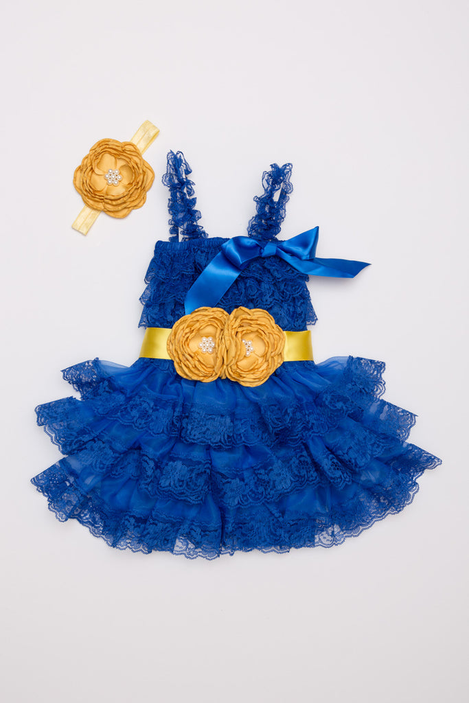 Royal Blue & Mustard Lace Dress, Headband & Sash Set