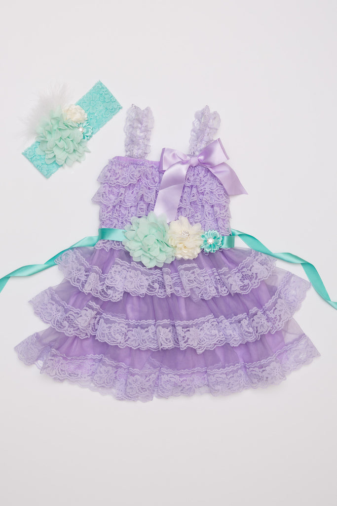 Lavender & Mint Lace Dress, Headband & Sash Set
